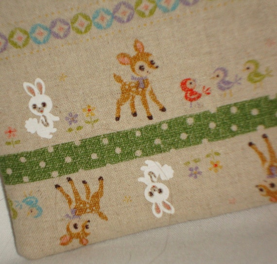 Kawaii Fawn and Friends Zippered Pouch  Green by WolfBait on Etsy