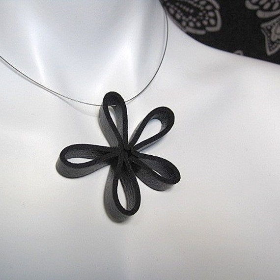 flower pendant, rubber necklace, rubber jewelry, modern jewelry, black