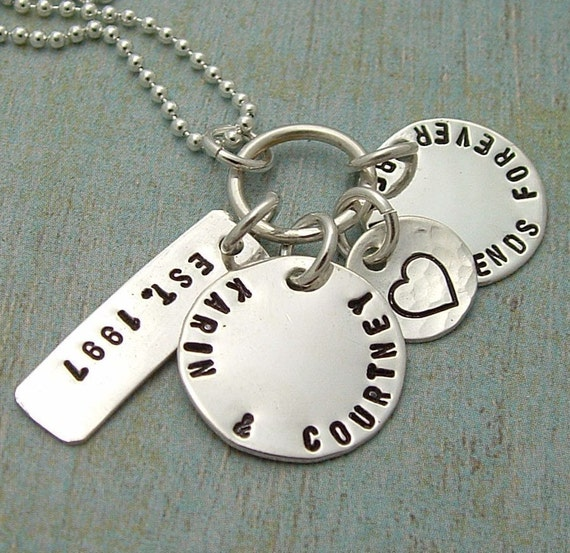 FAMILY.......Hand Stamped Sterling Silver  Tag Necklace Est. Your Date and Your Names