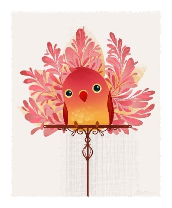 Red Birdie Mini Print