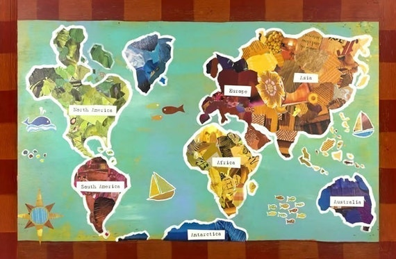 11x14 World Map Recycled Collage Poster- Gender Neutral Design