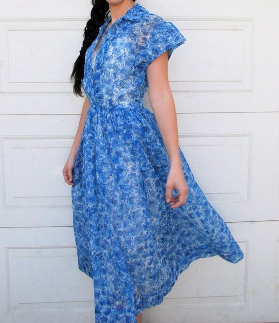 Vintage 1950s BLUE DREAM Floral Day Dress M