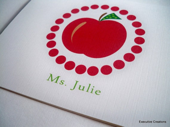 Red Apple Teacher Note cards