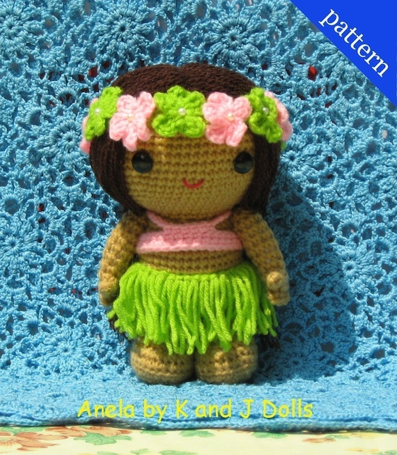 Anela the Hula Girl - PDF crochet pattern to make a doll