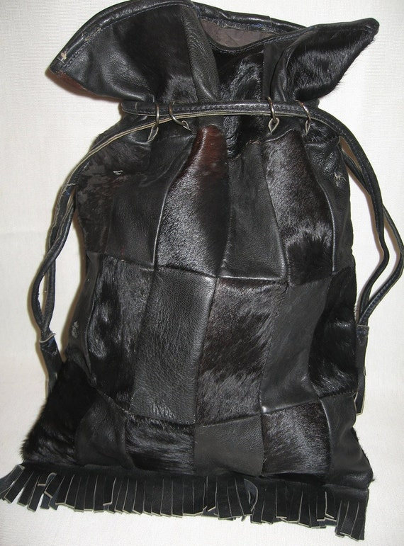 Drawstring HOBO PATCH BAG w/ Cowhide & Cow Hair '60's - '70's