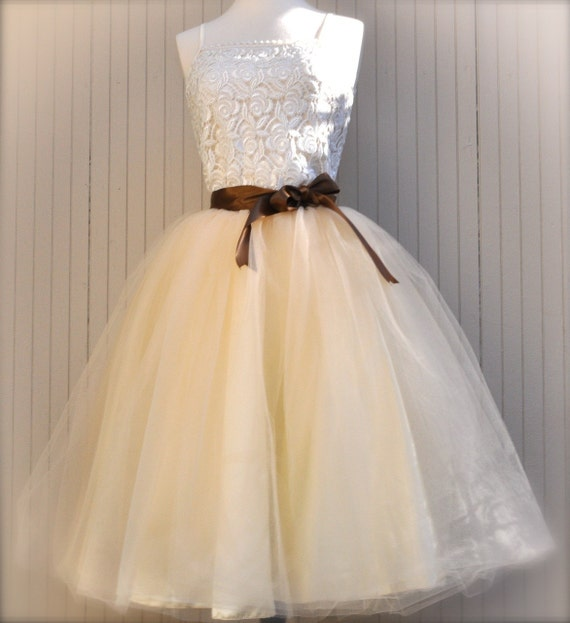 Classic Beige Tulle Skirt with Chocolate Caramel Satin Waist. Soft creamy color.
