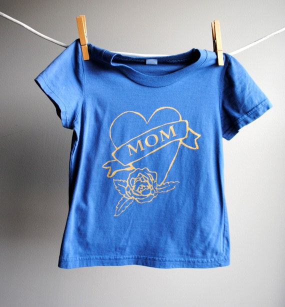 Mom Heart Tattoo T-Shirt, Organic, Sized 2 Toddler, Hand Dyed Navy Blue with Gold Screen Printed Ink, 2 toddler. From WrenWillow