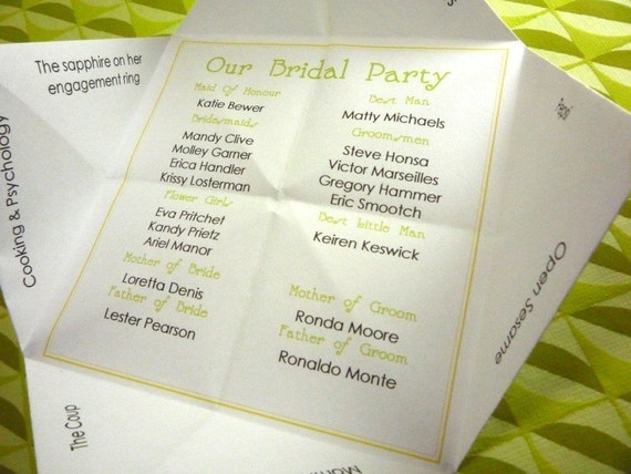 Meet Our Bridal Party Cootie Catcher (PDF - DESIGN ONLY)