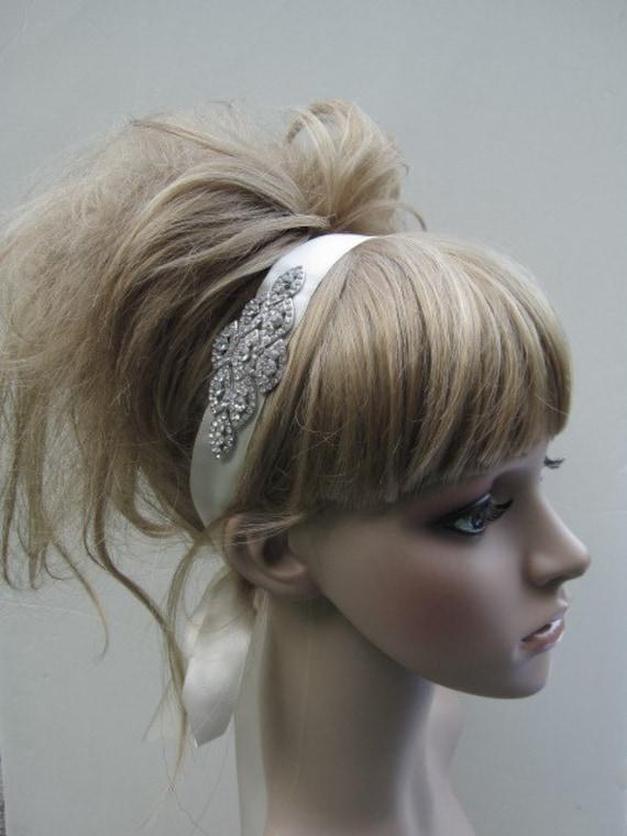 Rhinestone ribbon headband--- bridal head piece, brooch, tiara