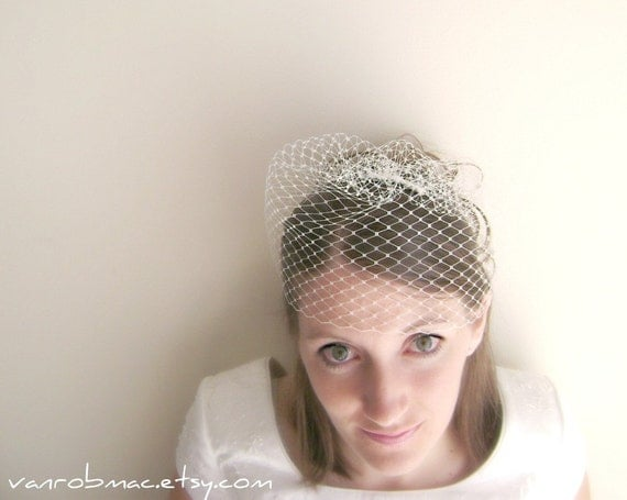 Birdy Birdcage 9 inch russian netting veil on meal comb...ready to ship..white or ivory