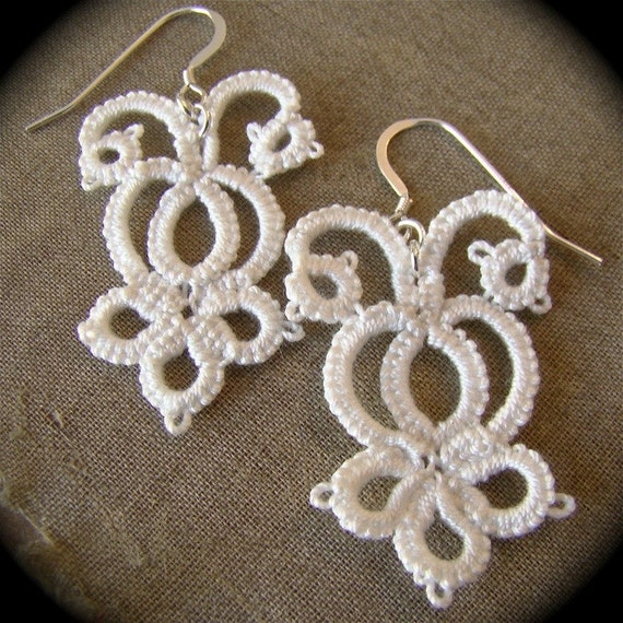 The Bride's Garden - Tatted Lace Earrings