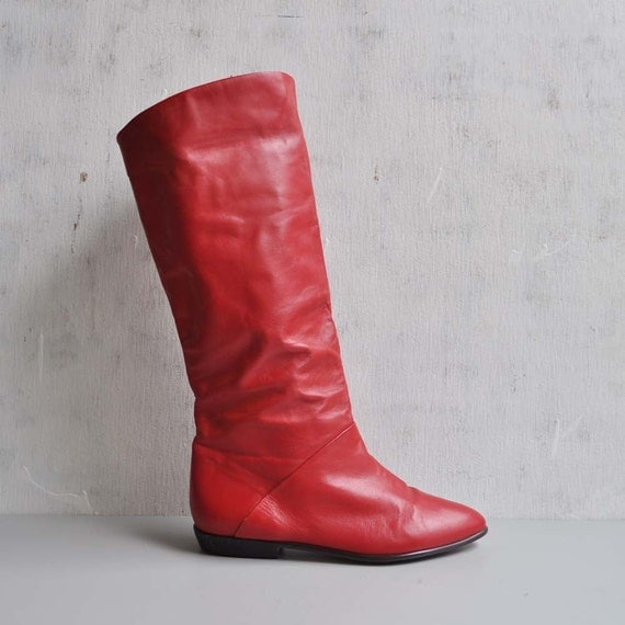 Vintage Pirate Cuff Red Leather Boots by MariesVintage on Etsy