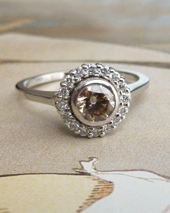 Bezel Set Diamond Halo Ring