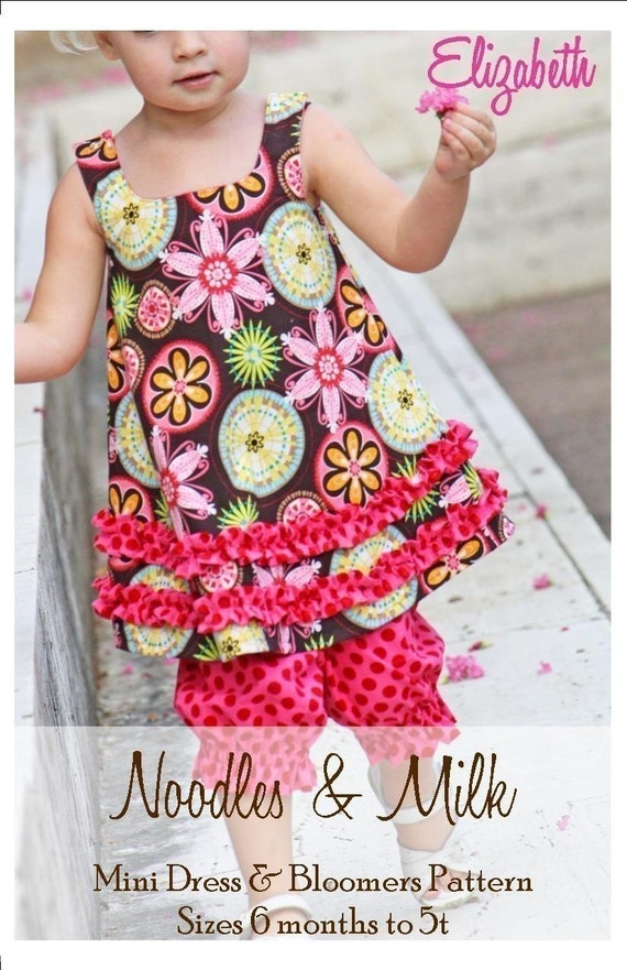 NEW Noodles and Milk Sewing Pattern -Tutorial PDF DIY-Elizabeth Mini dress and Bloomers-Sizes 6mo to 5t
