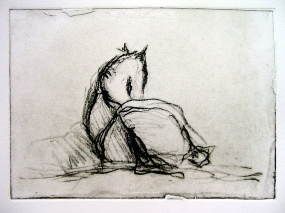 Gibby Napping (original etching) last one