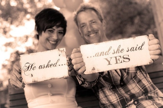 HE ASKED...SHE SAID YES SET, SAVE THE DATE SIGN, PHOTO PROPS,  Announcement, Engagement, Wedding Cards, Shabby Chic Signs, Photographer, Bridal Consultant, Wedding Planner