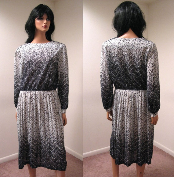 Vintage 70s 80s Wild Black White Secretary Dress Sz L FREE US Shipping