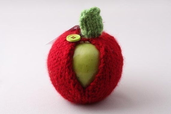 Apple Jacket-Cranberry with Lime Green Button