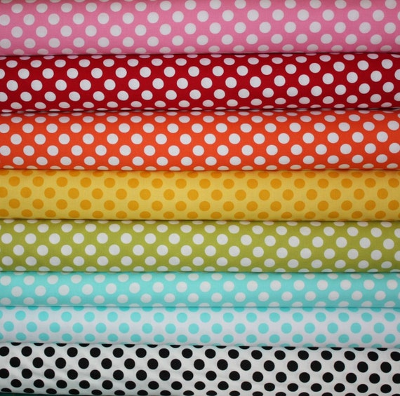 Everyone's Favorite Ta Dots Fabric by Michael Miller- 1/2 Yard Bundle, 8 total