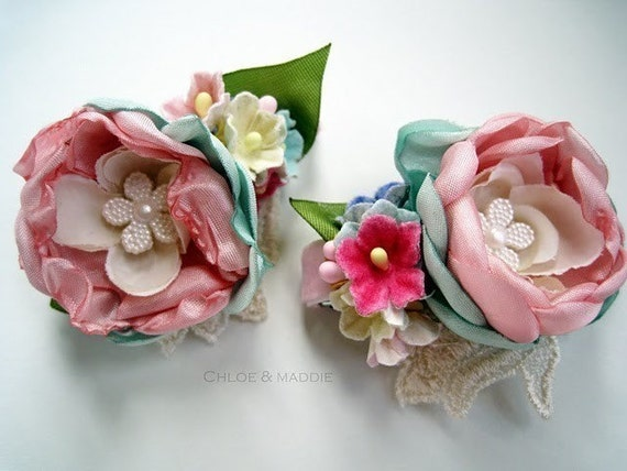 BETTIE Vintage inspired floral alligator hair clips ( SET OF TWO)