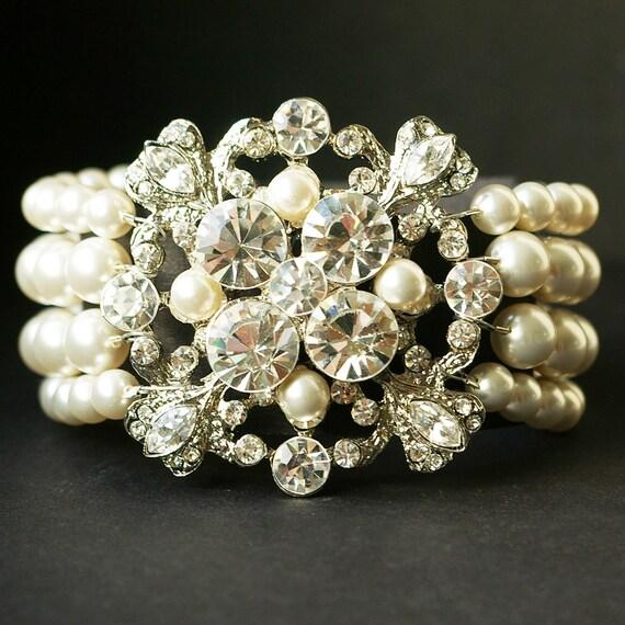 Bianca, Rhinestone & Swarovski Pearl Four Strand Cuff Bracelet NEW