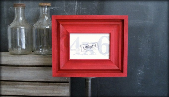 4x6 cove style red picture frame . handmade .