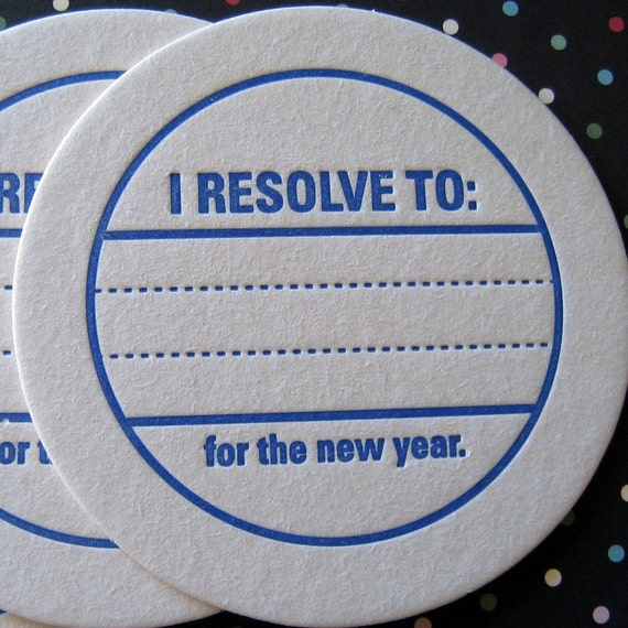 Letterpress Coaster Set - New Years Resolution