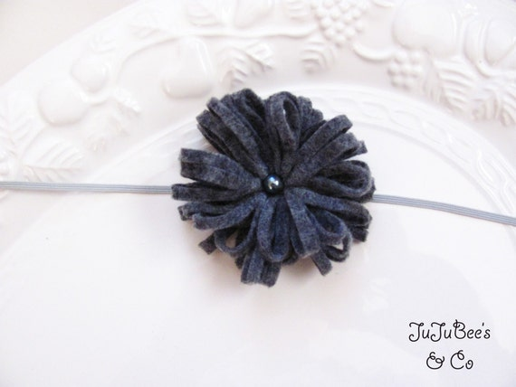 NEW ITEM  Felt PomPom Flower in Dove Gray with Dark Gray Pearl Center Photography Props Christmas Fall Headbands Newborn to Adult Sizes