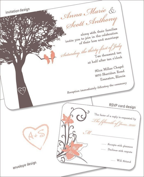 Wedding Invitation Sample, Custom design with Love Birds in a Tree, RSVP card, coordinating envelopes, Brown and Peach color scheme SAMPLE