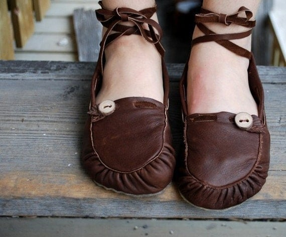 Soft Handmade Leather Lace up Ballet Moccasins Made to Order in 6 Different Color Choices