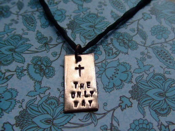 THE ONLY WAY Copper Handstamped Cross Necklace