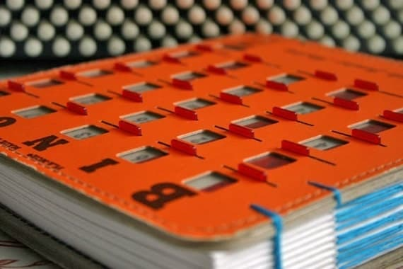 Cyber Monday Sale - Journal  Orange Recycled Vintage BINGO Game