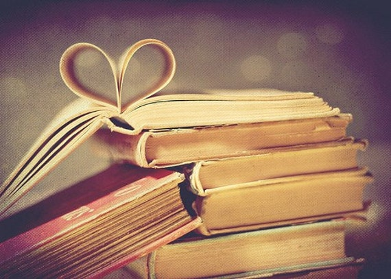 vintage book love - 5x7 fine art print - pages folded in heart shape