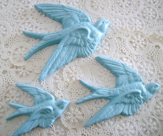 Aqua Flock , Vintage Handpainted Blue Birds Wall Plaques , Painted to Order
