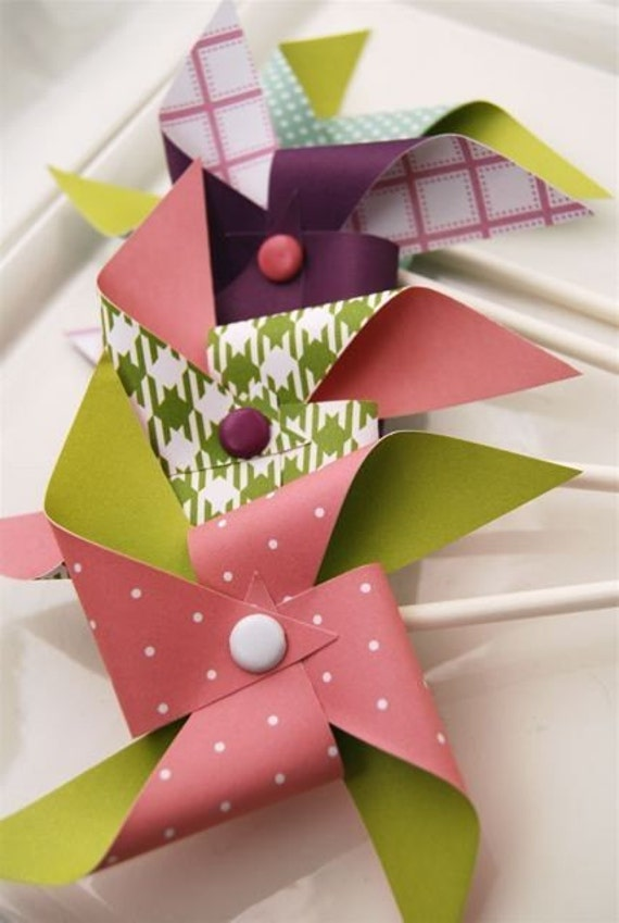 Dainty Pinwheels for Cupcakes or decorations (12)