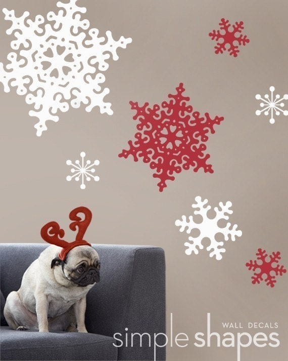 Winter Snowflakes Large - Holiday Vinyl Wall Decal Sticker set of 13