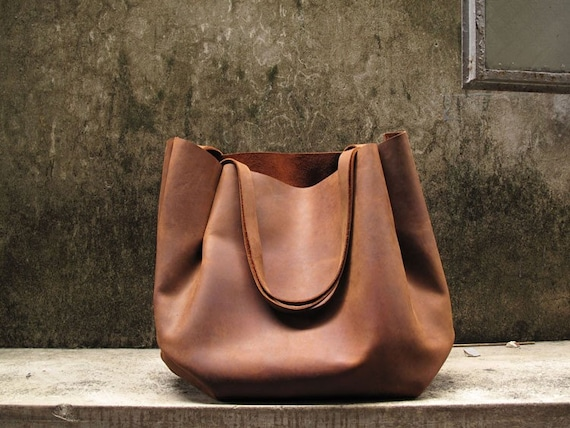 Hand-stitched Brown Leather Double Strapped Shoulder Bag