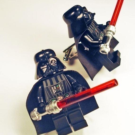 Full body Darth Vader LEGO silver toned cufflinks in FREE gift box
