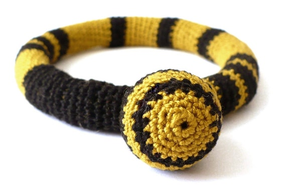 Bee Crocheted and Felt Bracelet by dodoo on Etsy from etsy.com