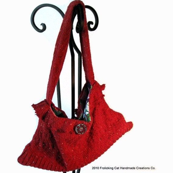 Handbag Red Sweater Repurposed by frolickingcatcreates on Etsy from etsy.com