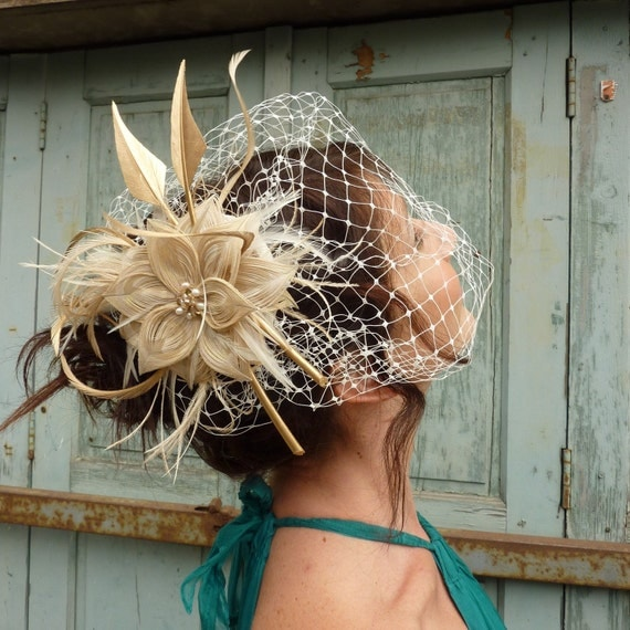 Midas Touch  -  Peacock Feather Flower Fascinator with Birdcage Veil