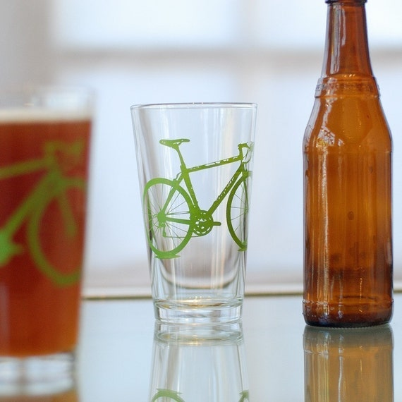2 hand printed bike pint glasses, green bicycle