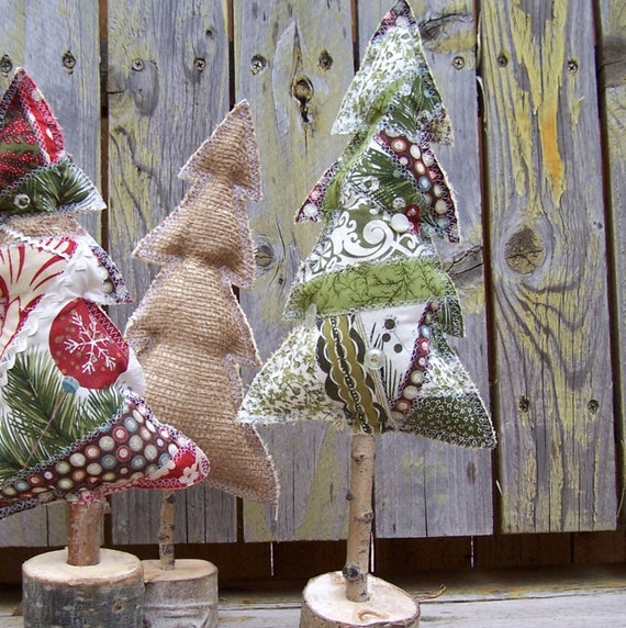 Rustic Green Patchwork Christmas Tree