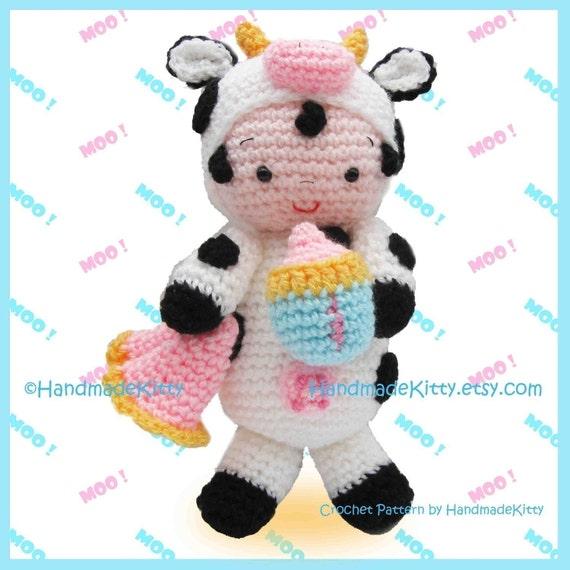 Baby Lucas in Cow outfit Amigurumi Crochet Pattern by HandmadeKitty