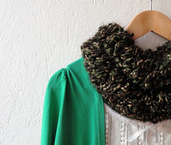 Earth Tones Ruffled Shaggy Everyday Scarf Neckwarmer, cowl, necktie, mom, winter accessories, modern, xmas gift, her mother