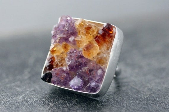 Custom Made Mixed Crystal Ring in Sterling Silver