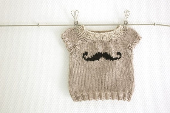 Mini Moustache Baby sweater PDF Pattern