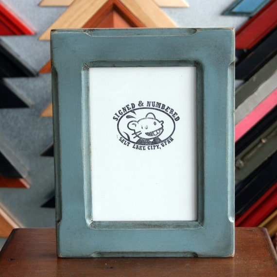 5x7 Picture Frame in Wide Bones Style and Vintage Smokey Blue Finish