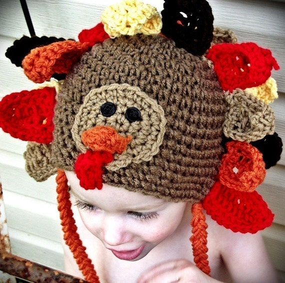 PDF Wild Turkey Character Hat CROCHET PATTERN All sizes from baby to Adult included