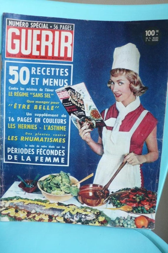 Vintage French Health  cookery magazine, 1955, Guerir, mid century, mixed media art, Vintage books and magazines by ancienesthetique on Etsy